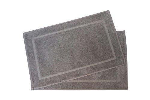 """ZOLLNER® 2er-Set Badematten / Badvorleger / Badteppich taupe 50x80 cm aus 100% Baumwolle, Gewicht ca. 520 g/qm, in weiteren Farben erhältlich, in Premium-Qualität, Serie """"Star-Elba"""""""