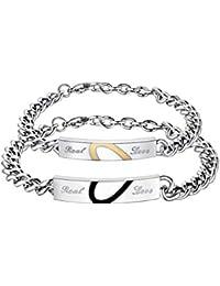 7e0d38a1ee3c10 WikiMiu Bracciale da Coppia in Acciaio al Titanio, Puzzle cuore braccialetto,  Gioielli di moda