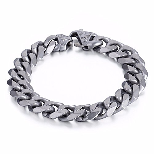 Trendsmax 14.5mm Matte Curb kubanischen Link Silber Ton 316L Edelstahl Armband Herren Kette 8inch