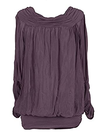 Ladies Womens Italian Lagenlook Quirky Long Sleeve Rusched Elasticated Viscose Neck Silk Tunic Top Blouse One Size (One Size, Aubergine)