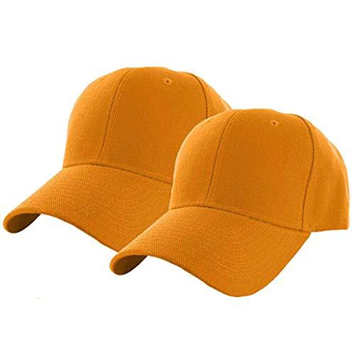 YWLINK Unisex Baseball Cap Einfarbig Mode Caps Herren Retro Hut Damen SchirmmüTze Verstellbar Erwachsenen MüTze Sommer Cappy 2PC(Gelb,Hutumfang: 56-60cm)