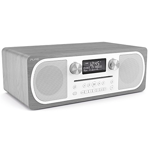 Pure C-D6 All-In-One Musikanlage (DAB/DAB+ und UKW, CD-Player, Bluetooth, AUX) Graue Eiche