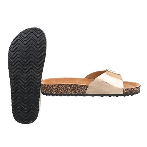 Ital-Design Chaussures Femme Sandales Plat Mules or Rose KU-6