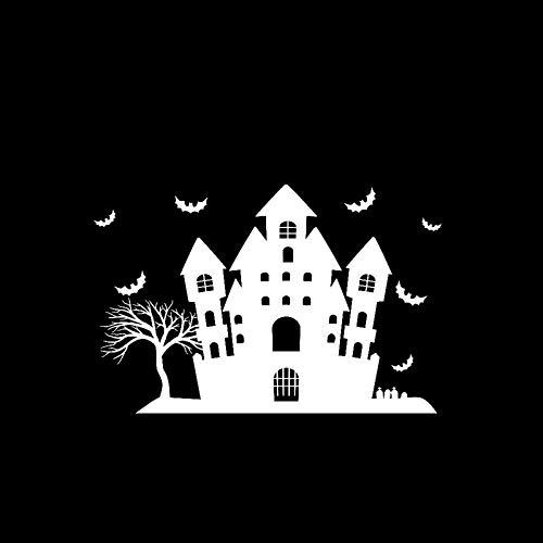 JXLK 15,1 * 10 Halloween Scary Bats Schloss Dekor Auto Aufkleber Vinyl Grafik