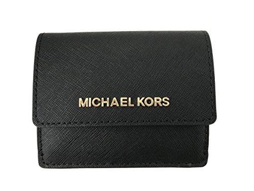 41AEL wmt0L - Michael Kors Jet Travel Leather Credit Card Case ID Key Holder Wallet in Black