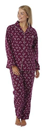 Damen 100% Gebürstete Baumwolle Robin Aufdruck Winceyette Schlafanzüge. Größen 10-12 14-16 18-20 IVORY ROBIN