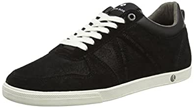 Björn Borg Men's X100 Low Psd M Black and Dark Grey Leather Sneakers - 8 UK