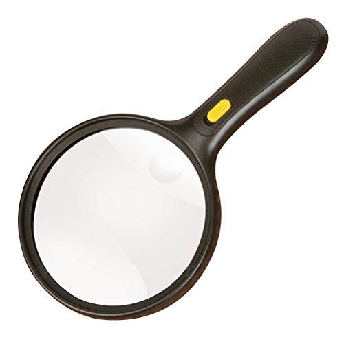 UEETEK 138mm behandelt extra großes Vergrößerungsglas mit Licht 2X Objektiv 5X Zoom beleuchtete Lupe Glas