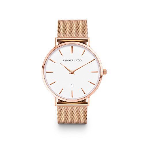 Abbott Lyon Rose Gold Kette Kensington 40 (Rose Gold) (Abbott Uhr)
