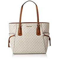 Michael Kors Voyager Small Tote Bag for Women- Monogram/Vanilla