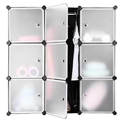 LANGRIA Interlocking Plastic Wardrobe Cabinet Opaque Design 9-Cube Storage and Organizer with Translucent Doors for Personal Items, Clothes, Shoes, Toys and Books, 111 x 37 x 111cm, Black and White produced by LANGRIA - quick delivery from UK.