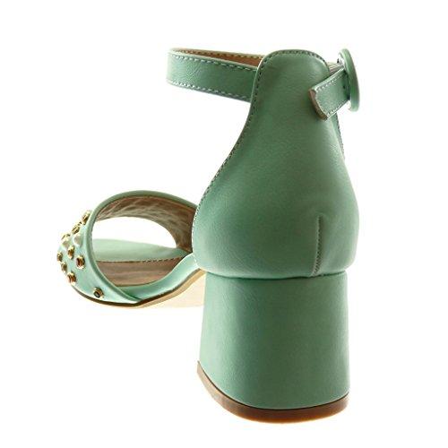 Angkorly Chaussure Mode Sandale Escarpin Lanière Cheville Femme Lanière Bijoux Perle Talon Haut Bloc 6 CM Vert