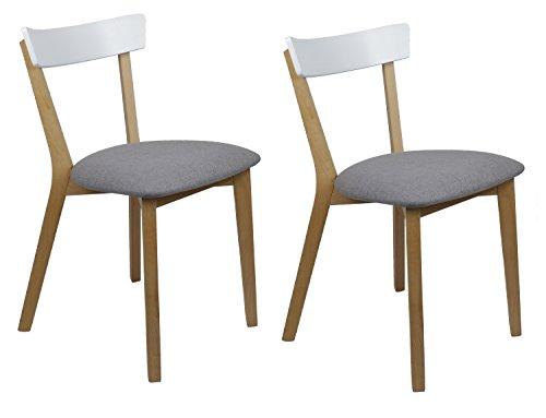Meubletmoi 2Stück Stühle skandinavischer Stil–Sitzfläche Komfort aus Stoff–Struktur aus Buchenholz–Mouna