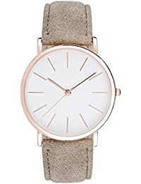 """SIX """"Geschenk"""" Damen Uhr, Armbanduhr, helles Ziffernblatt und goldene Zeiger, graues Band Wildleder Optik (274-451)"""