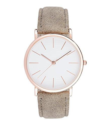 SIX Damenarmbanduhr: Modische Damenuhr mit Metallgehäuse in zartem rosé, graues Armband in Wildleder-Optik, helles Zifferblatt, 3-Zeiger Uhr (274-451)