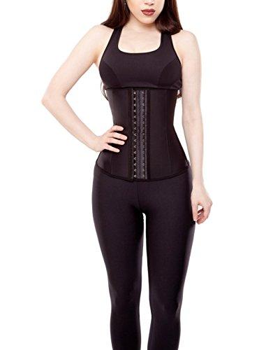 Dilanni Damen Taillenformer, Latex-Stahl-Korsett, atmungsaktiv, elastisch, XS bis 3XL Schwarz - Schwarz