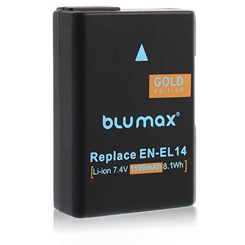 Blumax Gold Edition Akku 1100mAh für Nikon D5300 D3200 D3300 D3400 D5100 D5200 D3100 D5500 D5600 und Coolpix P7800 P7700 - ersetzt : EN-EL14 EN-EL14a