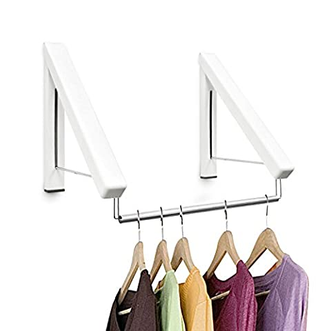 Top Home Solutions® 2pc Folding Wall Mounted Retractable Laundry Rack Portable Folding Clothes Coat (Piegare I Vestiti Rack)