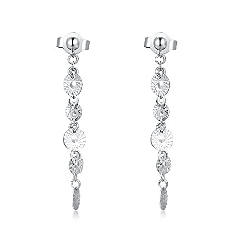 14ct 585 White Gold Diamond Cut Textured Circle Disc Dangling Drop Linear Earrings, Jewellery Gift