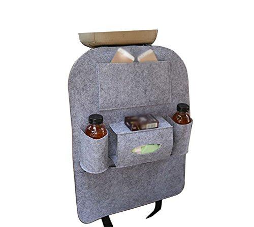 Preisvergleich Produktbild Lumanuby 1 Stück Auto Filz Rückenlehnen Tasche Rückenlehnenschutz Organisator für Mobiltelefon IPads Getränken Zeitschriften Make-up Werkzeuge oder Spielzeug,Hell Grau