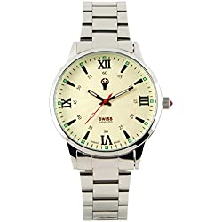 Swiss Emporio Men's Quartz Swiss Made Watch with Beige Dial Analogue Display and Silver Stainless Steel Bracelet SE03CRSL50
