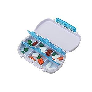 Shintop Tablettendose mit 6 fächer, Klein Pillendose Leicht zu Tragen Wasserdicht für Sport, Reisen und Draußen