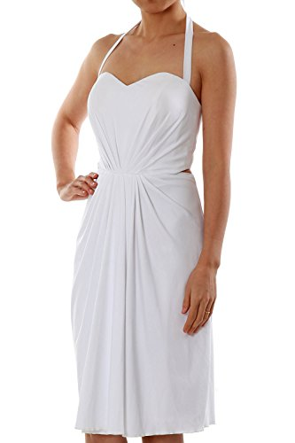 MACloth Women Halter Midi Sexy Jersey Short Cocktail Party Dress Evening Gown Königsblau