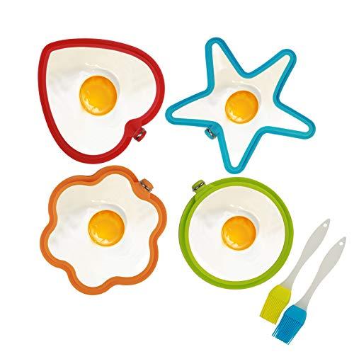 4er Silikon Spiegeleiform Set für Bratpfanne,KATOOM Ei Ringe Silikon Pfannkuchenform Eierform in Stern Herz Kreis Blumen Rund Motiv mit 2er Öl Pinsel Ei-ring