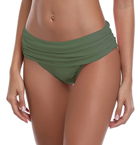 SHEKINI Damen Faltig Bikinislip Slip Badeshorts Badeslip Bottom Unterteil Panty Höschen Hipster Brazilian Kurze Hose Rüsche Design (XXL, Olivgrün) -