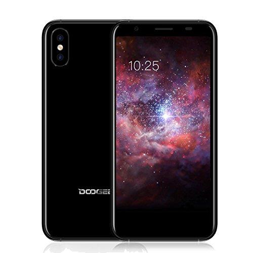 Smartphone ohne Vertrag, DOOGEE X55 Dual SIM Handy mit 5.5 Zoll HD 18:9 Seitenverhältnis Display, Android 7.1, Dual 8MP Rückseitenkameras, 1GB RAM + 16GB ROM - Prozessor MT6580 Quad Core, 2800mAh, Seitlicher Fingerabdruck entsperren, GPS, Bluetooth, Günstige Handys unter 100 Euro, - Topgio