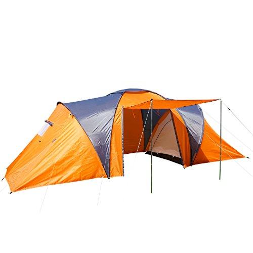 Campingzelt Loksa, 6-Mann Zelt Kuppelzelt Igluzelt Festival-Zelt, 6 Personen ~ orange