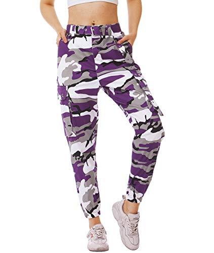 AIDEAONE Damen Hosen Lila Camouflage High Waist Sport Jogger Hosenanzug Trainingshose