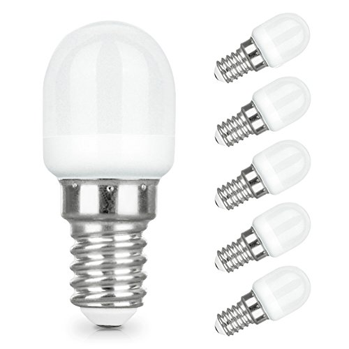 LAKES E14 LED Ampoule pour Réfrigérateur, 2W E14 Lumière (Equivalent à Halogène 25W), Congélateur Lampe 6000 K (Blanc Froid) 5 packs