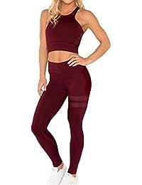 bee47730dd81 Tuta sportiva senza maniche senza maniche Tuta sportiva sportiva Tops  Leggings da yoga da jogging Pantaloni