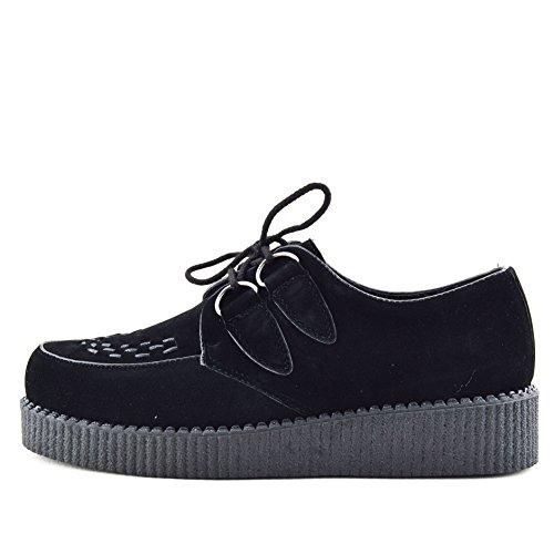 Kick Footwear Herren Flach Plateau Keil Schnüren Gothic Punk Leisetreter Creepers Schuhe Größe - UK 9/EU 43, Schwarz