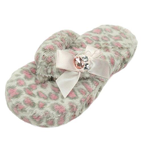 Gohom Damen Fleece Hausschuhe Pantoffeln Flip Flops mit pink Leopard Muster Set und süß Schleifen (Fleece Pink Leopard)