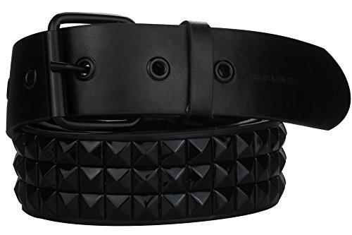 Hochwertiger Nietengürtel 3 reihig in schwarz | Bundweite: 85cm = Gesamtlänge: 105cm (Gürtel Emo)