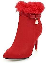 SHOWHOW Damen Spitz Zehe Nubuk Perle Kurzschaft Stiefel Mit Stiletto Rot 37 EU