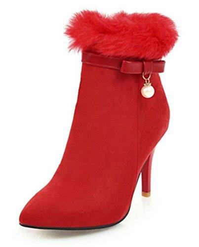 SHOWHOW Damen Schleife Perle Flauschig Kurzschaft Stiefel Mit Absatz Rot 37 EU