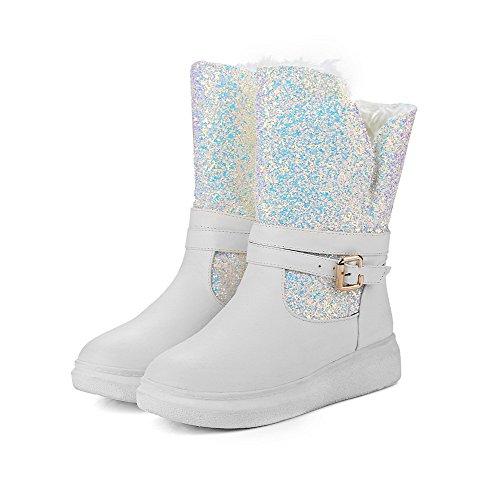 AllhqFashion Damen Rund Zehe Niedriger Absatz Niedrig-Spitze Gemischte Farbe Stiefel, Weiß, 40