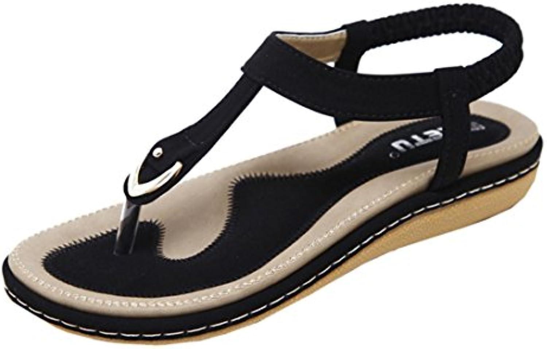 f5b280235aa71a Momola Women s Flip-Flops Flat Flat Flat Shoes Bohemia Lady Slipper  Peep-Toe Beach Sandals With Elastic Ankle Strap Simple... B07BGFRQH7 Parent  0187a5
