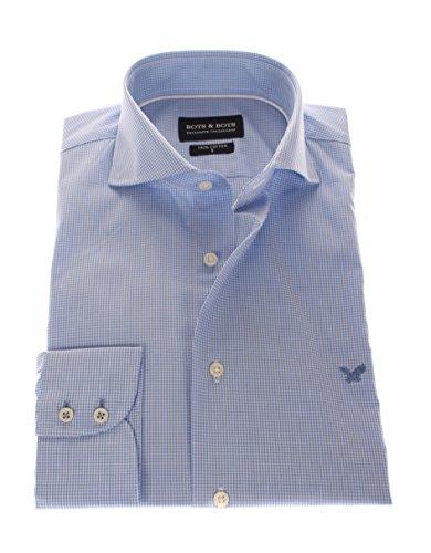 166012 Bots & Bots Exclusive Collection - Hemd Baumwolle Wide Spread Kragen Normal Fit Hellblau