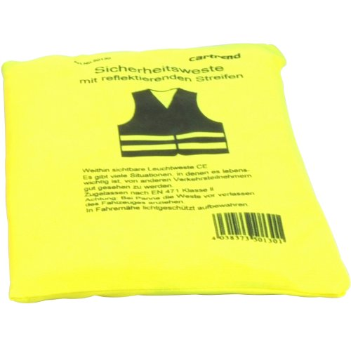 Cartrend-50130-Chaleco-reflectante-de-averas-amarillo-tamao-L-DIN-EN-20471-en-prctica-bolsa-textil-con-cierre-de-cremallera