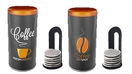 Kaffeepaddose -2er Set- HOT Vintage Farbe Kaffee Material Metall NEU MIT PADLIFTER