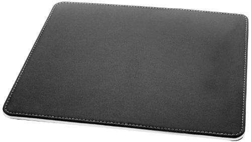 Sigel SA105 Mauspad eyestyle aus hochwertigem Leder-Imitat, schwarz / weiß - weitere Farben (Schwarze Leder-unterseite)