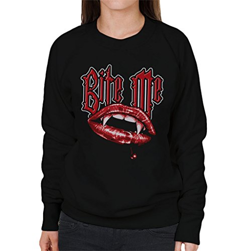 Bite Me Vampire Fangs Womens Sweatshirt Black