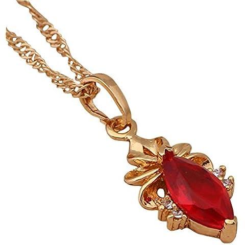 Bling fashion Reale 18K oro giallo placcato granato rosso zirconi ciondolo collana per le donne Wedding Style Fashion Jewelry