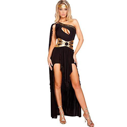ZGQA Damen Halloween Antediluvian Griechische Mythologie Göttin Cleopatra-Thema-Partei-Party Nachtclub Kostüme (Color : Black, Size : One (Griechisch Mythologie Kostüm)