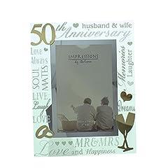 Idea Regalo - Cornice portafoto dorata a specchio per 50° anniversario di matrimonio