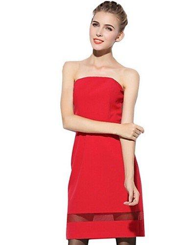 PU&PU Robe Aux femmes Gaine Street Chic,Couleur Pleine Sans Bretelles Au dessus du genou Polyester RED-L